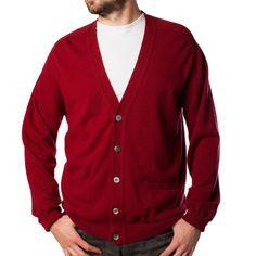 LONA SCOTT Mens Gents V Neck 100% Cashmere Luxury Buttoned Cardigan MBH: Wine -Lona Scott Gents - Dunedin Cashmere