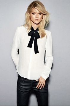 EQ 100% silk polka dot lacing ribbon bow ladies long sleeve ...