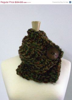 50 OFF SALE Brown Green Purple and Red Chunky by LaurasLovelyKnits, $17.00