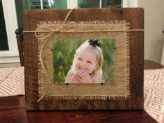 Reclaimed Barnwood Frame With Burlap Accents. Beautiful Rustic Look. Frame Is…