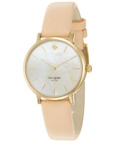Macy's | Spotted this at the mall and it looks even prettier in person! But it's too expensive. :( | kate spade new york Women's Metro Vachetta Leather Strap Watch 34mm 1YRU0073 | @jenneralized