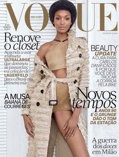 Jourdan Dunn wears an afro on Vogue Brazil's February cover