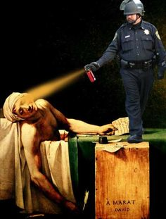 Pepper Spraying Cop and Death of Marat (David)