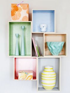 Colourful wooden box shelves #dansk #diy - Loved by @Andy Yang Yang Denmark House