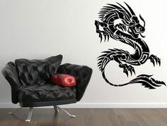 Chinese Dragon Beautiful Wall Decal. Wall Sticker & Wall Tatoo. 32 colours. 21,34e MUSTA!