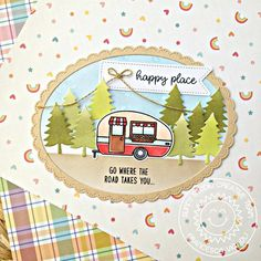 Sunny Studio Stamps Happy Camper 2x3 Photo-polymer Clear Stamp Set