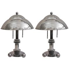 Cosulich Interiors   Jay Spectre Pair of Chromed Lamps for Paul Hanson from a collection of Designers Lamps at cosulichinteriors.com