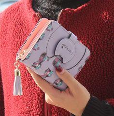Moda gato impressão dos desenhos animados mulheres carteira pequena borla zipper mulheres bolsa marca projetada bolsa de moedas titular do cartão