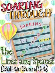 Music Bulletin Board: Soaring Through the Lines and Spaces -Bulletin Board - perfect for the elementary music room to reinforce treble clef note names Space Bulletin Boards, Music Bulletin Boards, Music Classroom, Classroom Decor, Music Teachers, New Year Music, Art Music, Music Mix, Primary Activities