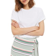 Women's Topshop Roll Crop Tee featuring polyvore, women's fashion, clothing, tops, t-shirts, white, white t shirt, cut-out crop tops, white crop tee, crop t shirt and sleeve t shirt