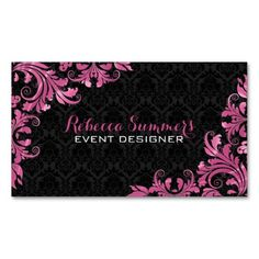 Elegant Pink Metal Lace Black Damasks Business Cards