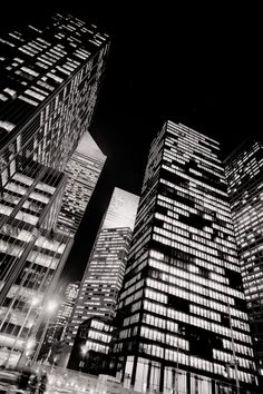 Seagrams Building at night by Woody Campbell