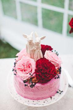 pink red wedding cake
