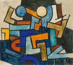 Johannes ITTEN (Linden 1888 - 1963 Zürich) Geometrische Komposition, 1958 - 20,7 x 23,2 cm.