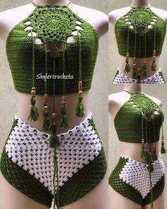 Source by idarisco Dresses Motif Bikini Crochet, Crochet Shorts Pattern, Crochet Beach Dress, Crochet Bra, Mode Crochet, Crochet Halter Tops, Crochet Crop Top, Crochet Woman, Crochet Blouse