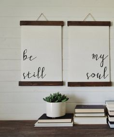 be still my soul/calligraphy wall art/canvas art print/wood sign/canvas print/wall decor/set of 2/wall art #DIYHomeDecorCanvas