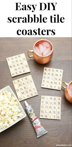 These scrabble tile DIY coasters are such a fun idea! These would make great Christmas gifts or hostess gifts! Love how you can customize them for whatever you want – sports, drinks etc! Click through for the easy tutorial for DIY scrabble tile coasters! Scrabble Cards, Scrabble Letter Crafts, Scrabble Coasters, Scrabble Ornaments, Beer Coasters, Wooden Coasters Diy, Scrabble Kunst, Scrabble Tiles, Donut Party