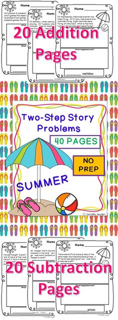 Pin for Summer!  Do you need practice or assessment for two-step story problems? This pack is exactly for you! It is absolutely NO PREP! There are 20 addition two-step word problems featuring all of the key words for addition. There are also 20 subtraction two-step word problems containing all of the subtraction key words. This versatile pack is useful for RTI or enrichment. Don't hesitate to download this great product. You'll be glad you did!
