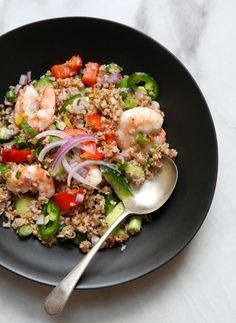 Bulgur Salad with Shrimp and a Lovely Cumin Dressing by francesjanisch #Salad #Bulgur #Shrimp #Cumin