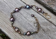 Freshwater Pearl Bracelet, Metallic Multicolor Freshwater Pearls, Copper Pearl Bracelet, Boho Pearl Bracelet, Pearl Jewelry by BrigidsMoonCreations on Etsy