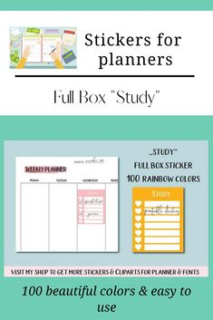 100 Full Box Weekly Study Tracker Printable Stickers, Planner Stickers, Planner Supplies, Color Studies, Logo Background, Weekly Planner, Box Design, Journal Cards, Resume Templates