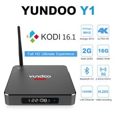 YUNDOO Y1-Android 6.0 TV Box Amlogic S912 Octo core [2GB DDR3/16GB eMMC/BT4.0/WiFi 2.4G 5G/4K] HDMI 2.0 Streaming Media Player Device Preloaded KODI 16.1 With LED Display -- Awesome products selected by Anna Churchill