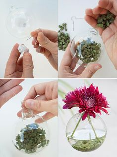 5 Minute DIY: Hanging Vases from Ornaments