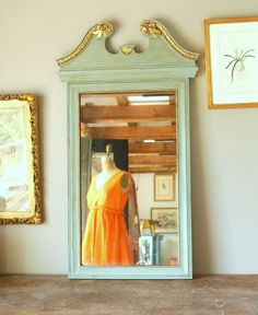 this just made me decide to take dresser mirror off dresser, paint and use as stand alone! Dresser With Mirror, Mirror Mirror, Mirrors, Hollywood Regency, Antique Glass, Antique Art, Painting Furniture, Cool Furniture, Art Nouveau