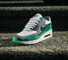 584234ab190f Nike Air Max 90 Breath-White-Black-Cool Grey-Pine Green Nike