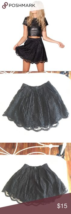 """Lacey skater skirt Black Milk Clothing Gently used Lacey black skater skirt. No longer available on BM site. This awesome skirt also has POCKETS!!! Zip and button closure in back. Laid flat waist measures 13"""" Blackmilk Skirts Circle & Skater"""