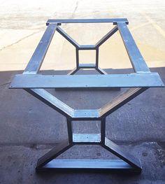 "Custom order for Sandune10 - Modern, Industrial Dining Table ""X"" Legs, Model #TTS09B, with 2 Braces and bottom custom rollers"