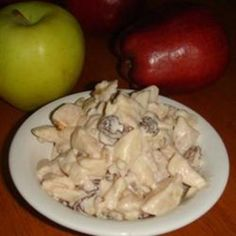 Crunchy Apple Salad      Ingredients  4 large red apples, diced  1 cup chopped celery  1 cup raisins  1 cup chopped walnuts  1/2 cup mayonnaise  Directions  In a large bowl, combine the apples, celery, raisins and walnuts. Blend in mayonnaise. Cover and refrigerate until serving.