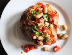 Baked Sweet Potatoes with Warm Cannellini Bean Salad | Yes to Yolks