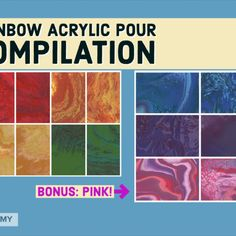 Today we are going to show you a compilation of acrylic pour paintings featuring all the colors of the rainbow in order. There's even a bonus color at the end: ALL PINK! This video includes chill music, watch and relax or follow along with our methods to make your own rainbow art.😀🌈 #freeartsacademy Rainbow Art, Rainbow Colors, Art Paintings For Sale, Pour Painting, Acrylic Pouring, All The Colors, Chill, Relax, Watch