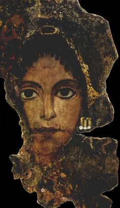 (Fayum Portrait)  is the modern term given to a type of naturalistic painted portraits on wooden boards attached to mummies from the Coptic period. 3-1 centuries BC, Egypt