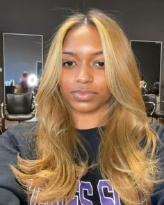 Hairstyles For Black Women .Hairstyles For Black Women Blonde Hair Black Girls, Honey Blonde Hair, Golden Blonde Hair, Black Curly Hair, Blonde Wig, Ciara Blonde Hair, Blonde Balayage, Front Hair Styles, Curly Hair Styles