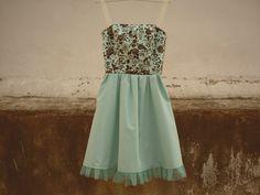 Mint GreenSummer Floral DressCotton DressLace and by CruelCandy, €60.00