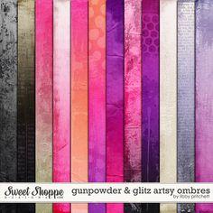 Digital Scrapbooking - Gunpowder & Glitz Artsy Ombre Papers by Libby Pritchett