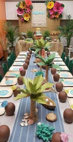 Kitsch Event Styling's Birthday / Moana - Moana Birthday Bash at Catch My Party Moana Birthday Party Theme, Luau Theme Party, Moana Themed Party, Hawaiian Party Decorations, Hawaiian Luau Party, Hawaiian Birthday, Tiki Party, Luau Birthday, 4th Birthday Parties