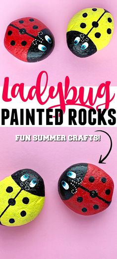 Aren't these Ladybug Painted Rocks the cutest? These adorable little bugs will look amazing in your home and o Rock Crafts, Easy Crafts, Kids Crafts, Summer Crafts For Kids, Summer Fun, Craft Activities For Kids, Craft Ideas, Indoor Activities, Activity Ideas