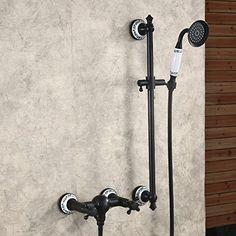 Hiendure® Oil Rubbed Bronze Wall Mount Bathtub Tap Shower Faucet Mixer Tap with Solid Bar Hand Shower