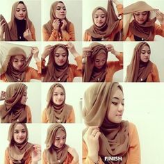 Hijab tutorial using a wide rectangular scarf