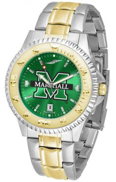 Marshall University Mens Or Ladies Competitor Two-Tone Watch With Anochrome Dial. The ultimate fan's statement, our Competitor Two-Tone timepiece offers a classic, business-appropriate look. Features: 23kt gold-plated bezel stainless steel case date function. Secures to your wrist with a two-tone solid stainless steel band band complete with safety clasp. AnoChrome Dial Water Resistant 3 Year Warranty The AnoChrome dial option increases the visual impact of any watch with a stunning radial…