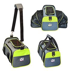 """Peak Pooch - Expandable Foldable Airline Approved IATA Carry On Travel Pet Dog Cat Soft-Sided Carrier w/ Fleece Bed - Charcoal (Neon Green Trim, Medium) - 18""""x 11""""x 11"""" Peak Pooch"""