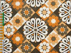 Mod Brown Orange floral Geometric Vintage Wallpaper