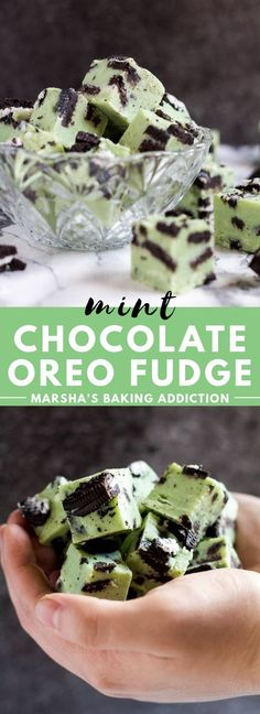 Mint Chocolate Oreo Fudge - Deliciously creamy mint white chocolate fudge that is loaded with flavour, stuffed full of Oreo cookies, and only requires 5 ingredients to make! Recipe on marshasbakingaddiction.com #mintchocolate #oreo #fudge #christmas