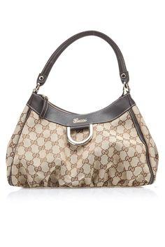 Gucci D Gold Medium Handbag In Ebony & Beige