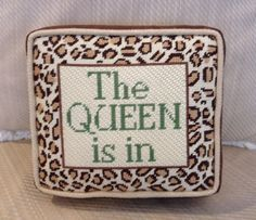 UNZ Queen is in needlepoint pillow Needlepoint Pillows, Needlepoint Designs, Needlepoint Stitches, Needlework, Lost Art, Damask, Decorative Pillows, Whimsical, Cross Stitch