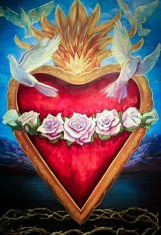 Mexican Art Tattoo Symbols Sacred Heart Ideas For 2019 Arte Popular, Religious Icons, Religious Art, Religious Images, Mexican Art Tattoos, Sacred Heart Tattoos, Jesus E Maria, Pattern Texture, Heart Of Jesus