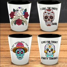 Lets get the party started with this Mexican Folk Art set of 4 Sugar Skulls shot glasses. Ideal for a Halloween gift idea or to celebrate the Day of the Dead, Dia de los muertos. Whatever your favorite drink is - Tequilla, Bourbon, Vodka or something els Funny Shot Glasses, Shot Glass Set, Get The Party Started, Mexican Folk Art, Halloween Gifts, Order Prints, Unique Gifts, Valentines, Sugar Skulls